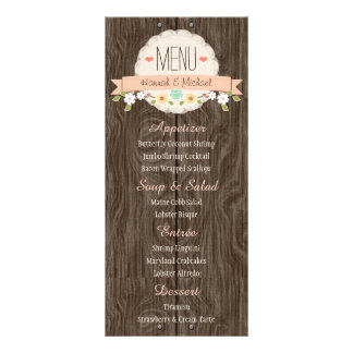 Carte florale rustique de menu de mariage de pêche
