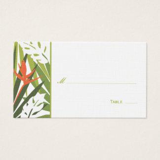 Carte florale tropicale d'endroit - vert et orange