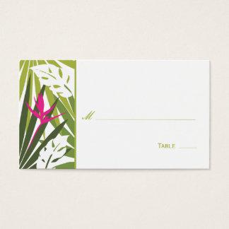 Carte florale tropicale d'endroit - vert et rose