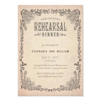 Carte florale vintage de dîner de répétition carton d'invitation  12,7 cm x 17,78 cm