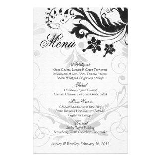 Carte florale vintage noire et blanche de menu de  prospectus personnalisés