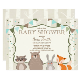 Carte Forêt d'animaux d'invitation de baby shower de