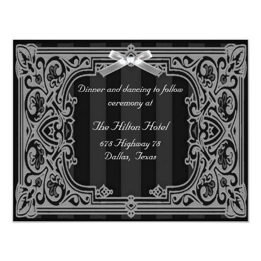 Carte formelle noire et blanche de réception carton d'invitation 10,79 cm x 13,97 cm