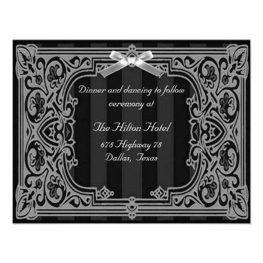 Carte formelle noire et blanche de réception invitations