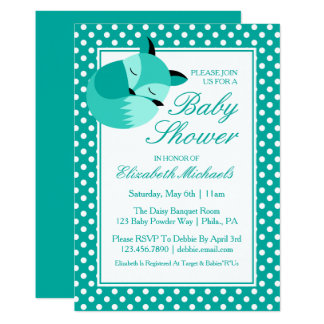 Carte Fox turquoise de baby shower