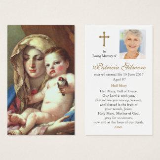 Carte funèbre   Madonna de prière du chardonneret