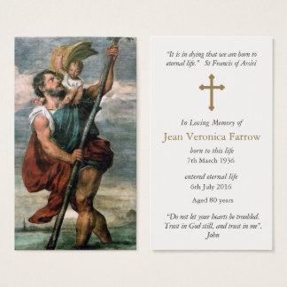 Carte funèbre St Christopher de prière