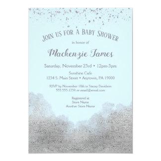 Carte Garçon argenté bleu d'invitation de baby shower de