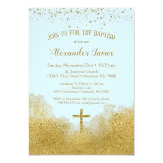 Carte Garçon bleu d'invitation de baptême de confettis