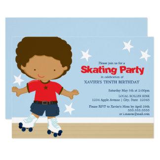 Carte Garçon de patinage d'Afro-américain de la partie |