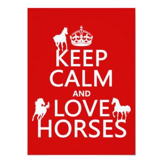 Carte Gardez le calme et aimez les chevaux - toutes les