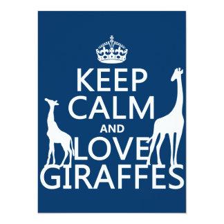 Carte Gardez le calme et aimez les girafes - toutes les
