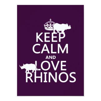 Carte Gardez le calme et aimez les rhinocéros (toute