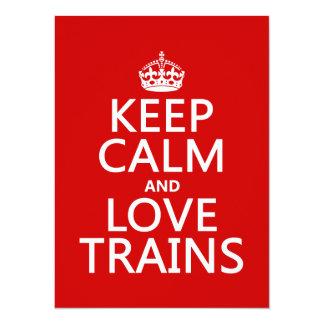 Carte Gardez le calme et aimez les trains (les couleurs