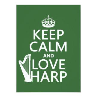 Carte Gardez le calme et aimez l'harpe (toute couleur