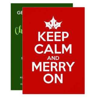 Carte Gardez le calme et joyeux sur la fête de vacances