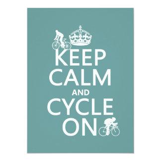 Carte Gardez le calme et le cycle sur (dans toute