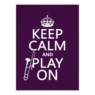 Carte Gardez le calme et le jeu sur (trombone) (toute