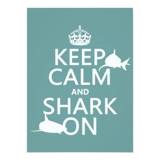 Carte Gardez le calme et le requin sur (les couleurs