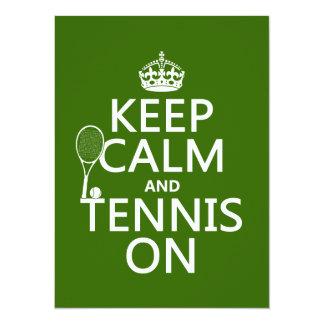 Carte Gardez le calme et le tennis sur (toute couleur