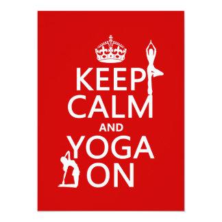 Carte Gardez le calme et le yoga sur (les couleurs de