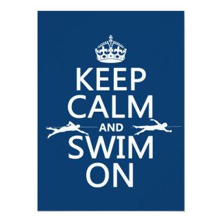 Carte Gardez le calme et nagez sur (dans toute couleur)