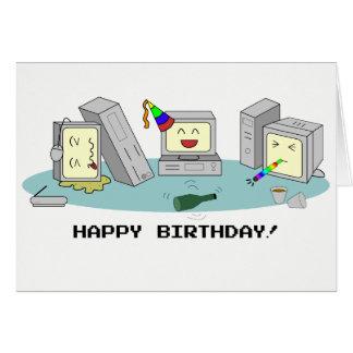 """Carte Geeky d'ordinateur de """"joyeux anniversaire"""","""