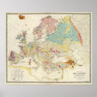 Carte géologique l'Europe Affiches