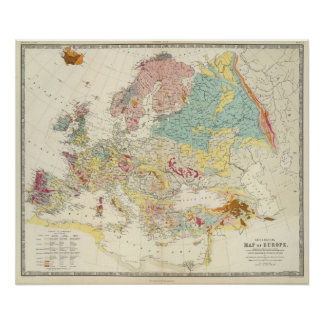 Carte géologique l'Europe Posters