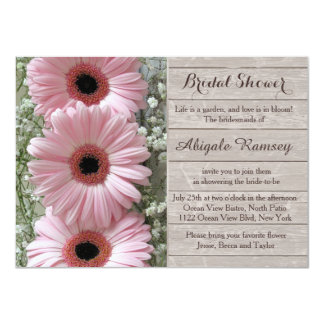 Carte Gerbera rose de marguerite sur la douche nuptiale