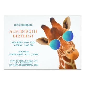 Carte Girafe mignonne de bébé dans l'invitation de
