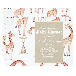 Carte Girafes bronzages et baby shower lunatique de