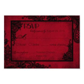 Carte gothique de la dentelle rouge et noire RSVP