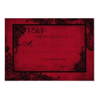 Carte gothique de la dentelle rouge et noire RSVP Carton D'invitation 8,89 Cm X 12,70 Cm