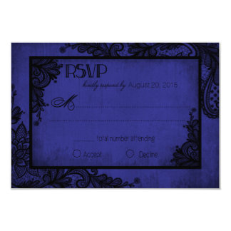 Carte gothique de la dentelle RSVP de bleu royal