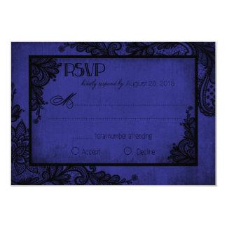 Carte gothique de la dentelle RSVP de bleu royal Carton D'invitation 8,89 Cm X 12,70 Cm