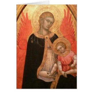 Carte gothique de Madonna et d'enfant