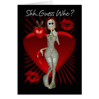 Carte gothique de Saint-Valentin avec la poupée de