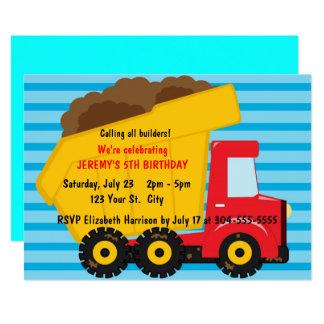 Carte Grand anniversaire de camion à benne basculante