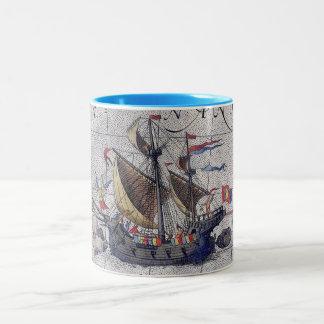 Carte grande de bateau de l'océan pacifique tasse 2 couleurs