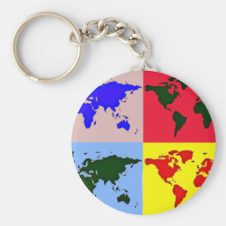 carte graphique du monde porte-clé rond