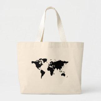 carte graphique noire du monde sacs fourre-tout