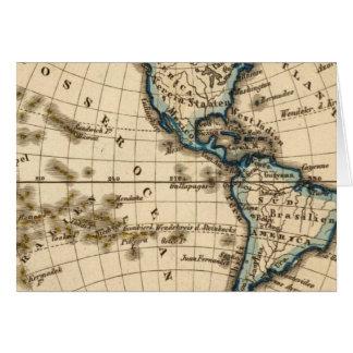 Carte gravée d'hémisphère de l'ouest