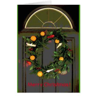 Carte greeeting de guirlande de porte de Joyeux Cartes