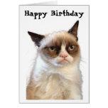 Carte grincheuse de joyeux anniversaire de chat