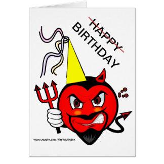 Carte grincheuse de joyeux anniversaire de diable