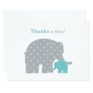Carte Gris bleu de Merci d'éléphant de note d'Aqua plat