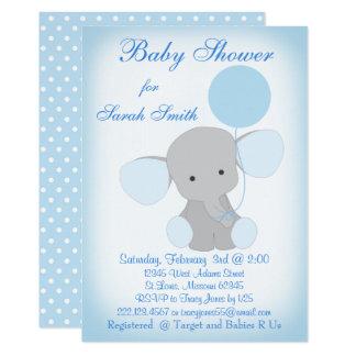 Carte Gris bleu d'éléphant d'invitation de douche de