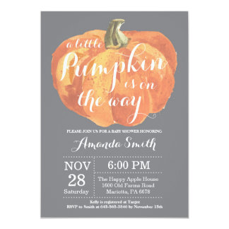 Carte Gris d'invitation de baby shower d'automne de
