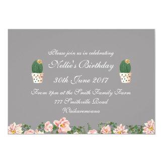 Carte Gris élégant floral et de cactus